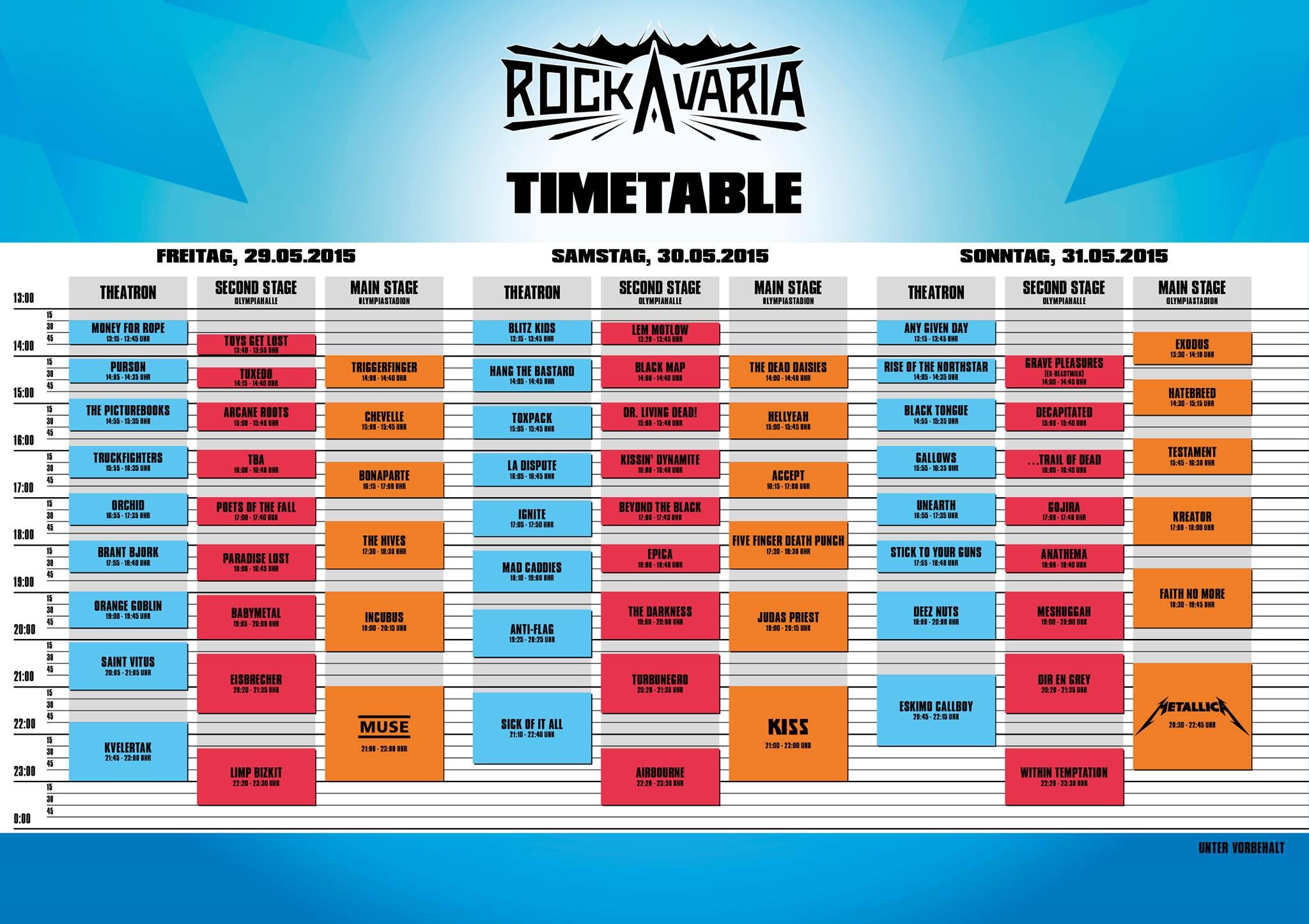 Rockavariaタイムテーブル
